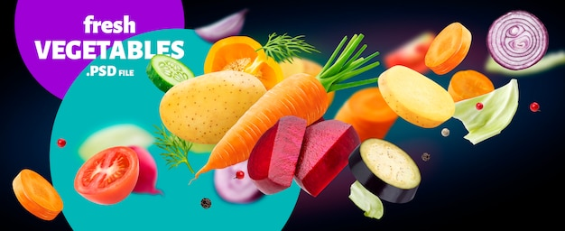 Falling mix of different vegetables isolated on black background Premium Psd