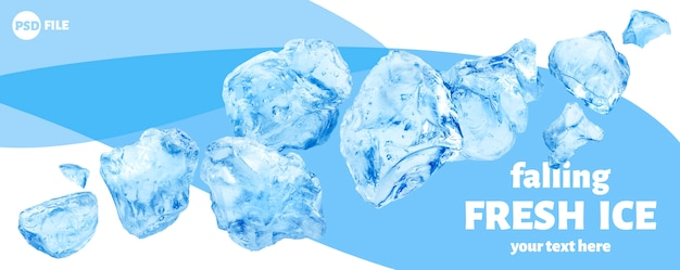 Falling pieces of ice, heap of crushed ice isolated Premium Psd