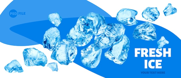 Falling pieces of ice, heap of crushed ice Premium Psd