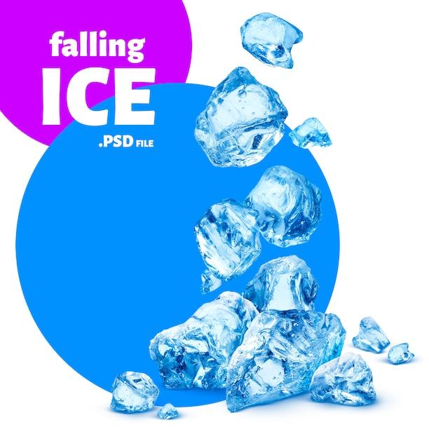 Падающие кусочки льда, колотый лед Premium Psd
