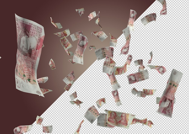 Falling pounds. rain from pound banknotes Premium Psd