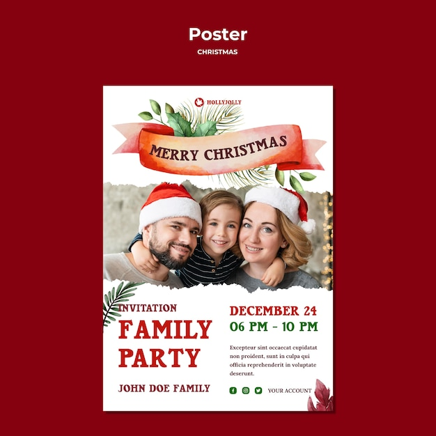 家族のクリスマスパーティーのポスター印刷テンプレート 無料 Psd