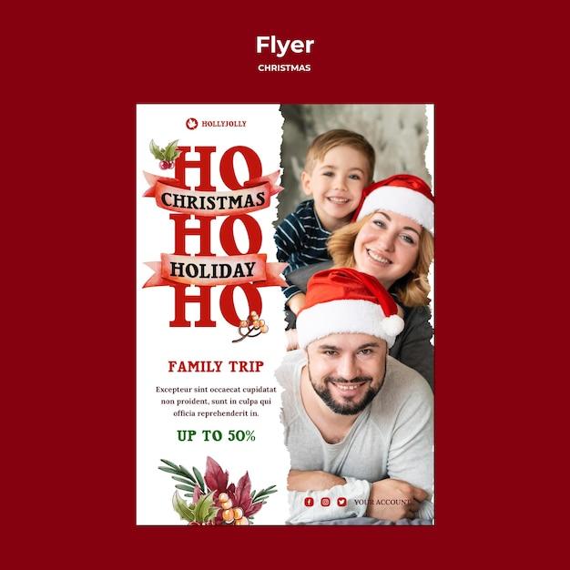 Шаблон печати плаката семейной рождественской поездки Бесплатные Psd