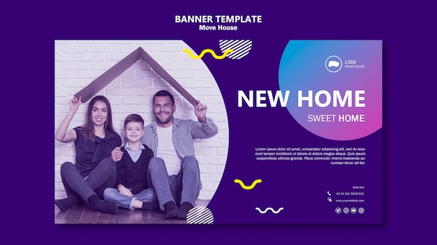 Family moving in a new home banner template Free Psd