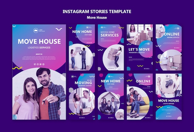 Family moving in a new home instagram stories Free Psd