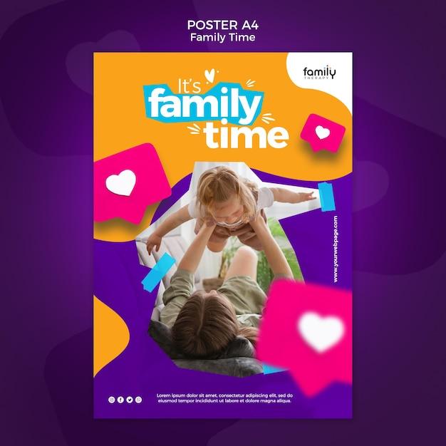 가족 시간 개념 포스터 템플릿 무료 PSD 파일