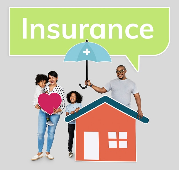 Family with a home insurance protection plan Premium Psd