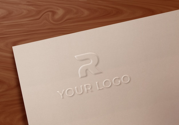 Fancy embossed art paper logo mockup Premium Psd