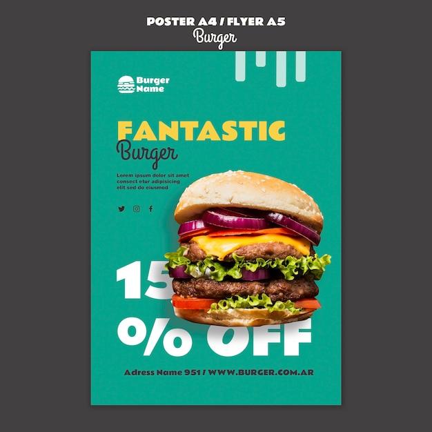 Fantastico modello di stampa di poster di hamburger Psd Gratuite