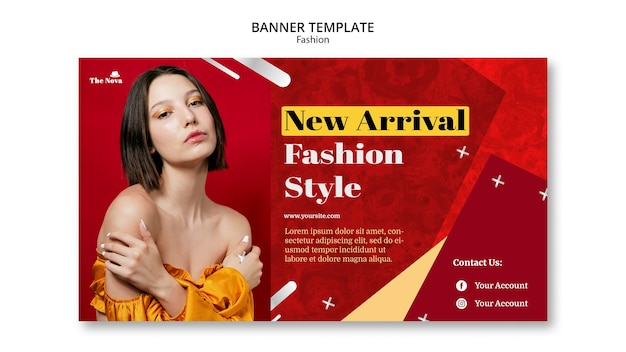 Fashion banner template with photo Free Psd