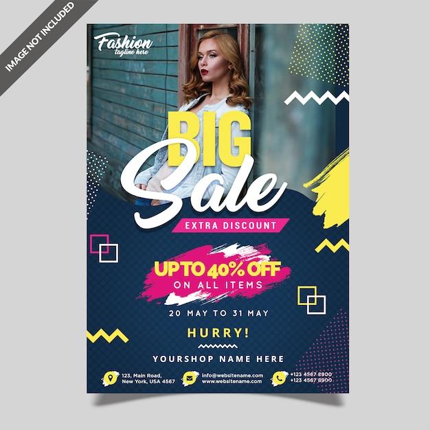 Fashion big sale flyer template Premium Psd