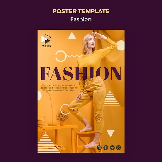 Шаблон плаката модной одежды Бесплатные Psd