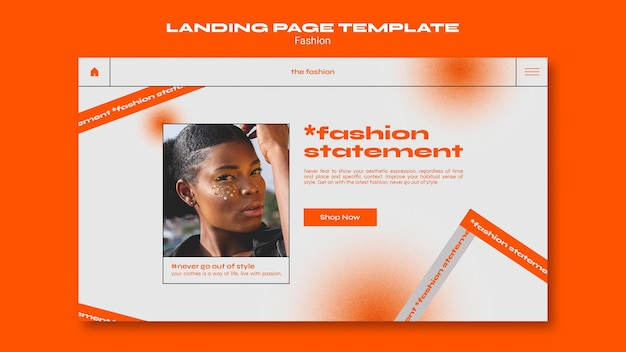 Fashion concept landing page template Free Psd