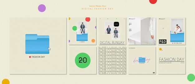패션 데이 템플릿 소셜 미디어 게시물 무료 PSD 파일