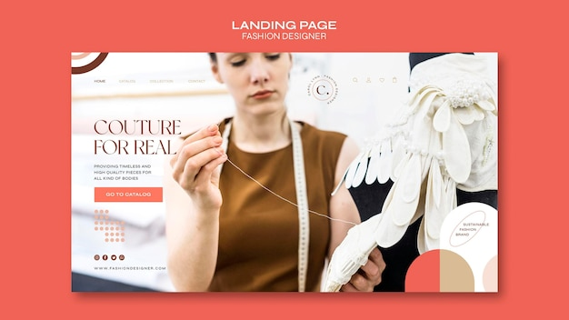 패션 디자이너 컨셉 방문 페이지 템플릿 무료 PSD 파일
