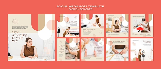 패션 디자이너 개념 소셜 미디어 게시물 템플릿 프리미엄 PSD 파일