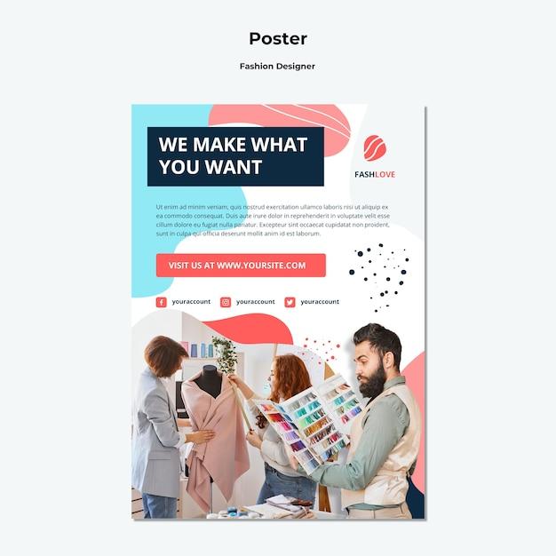 패션 디자이너 포스터 템플릿 무료 PSD 파일