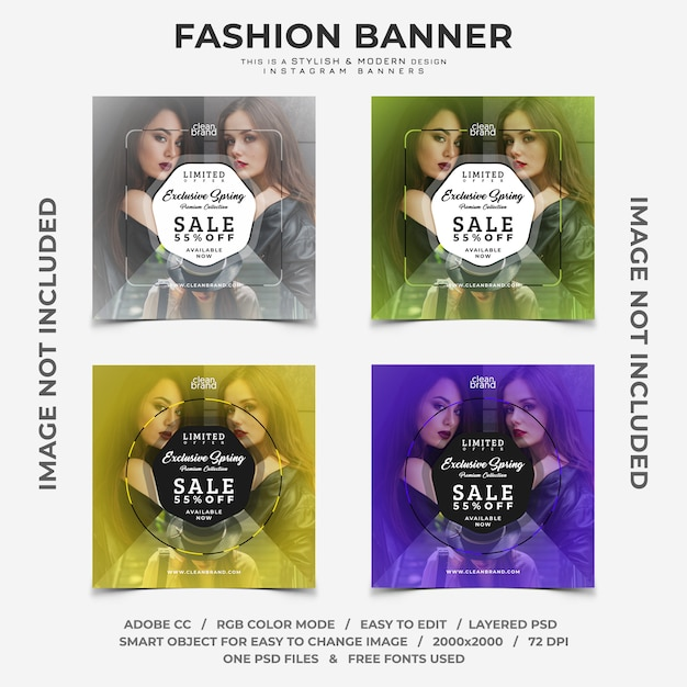 Fashion event sale discounts instagram banners Premium Psd
