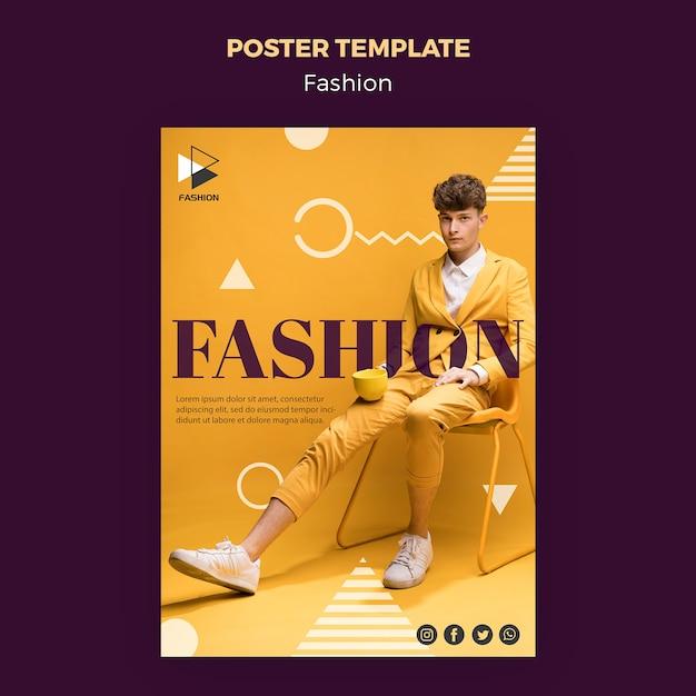 Шаблон плаката моды гламур одежды Бесплатные Psd