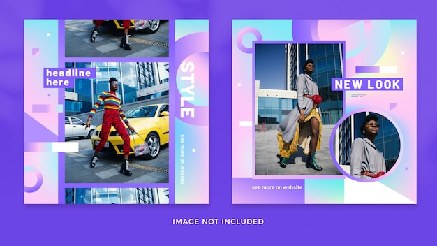 Fashion gradient instagram post collection premium psd Premium Psd