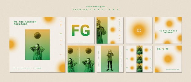 Fashion gradient social media posts template Premium Psd