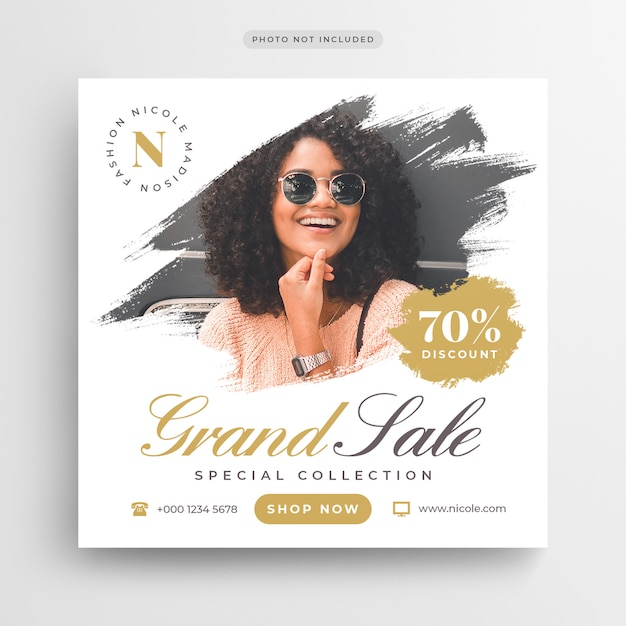 Fashion grand sale post banner or square flyer template Premium Psd