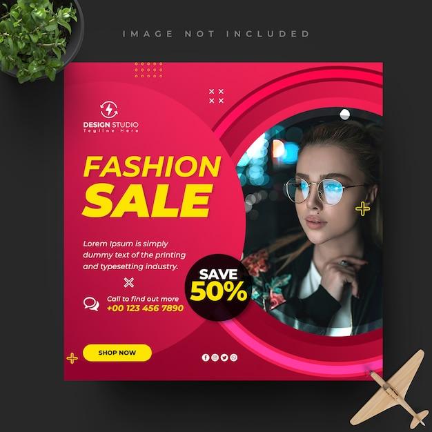 Fashion instagram, facebook social media post banner template design Premium Psd