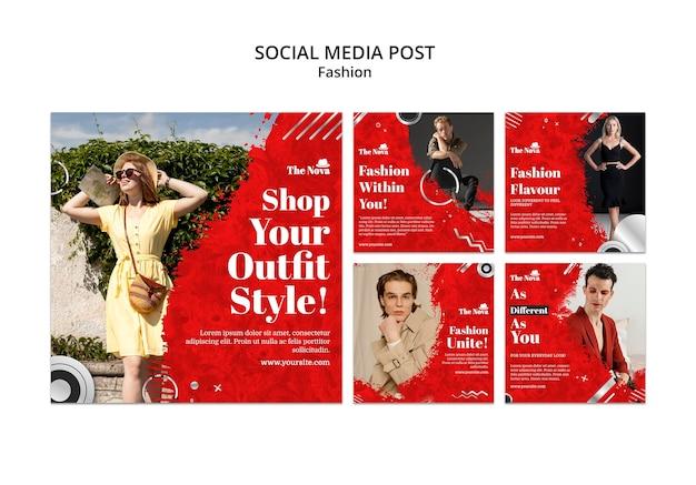 Fashion instagram pack set Free Psd