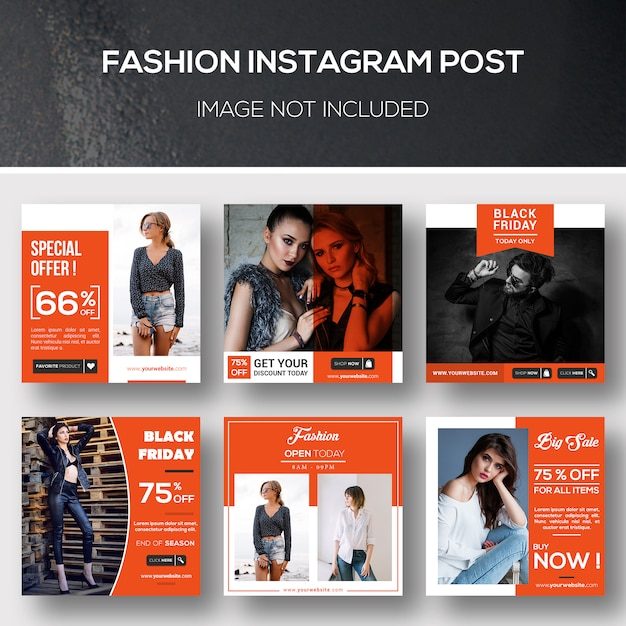 Fashion instagram post or banner template Premium Psd