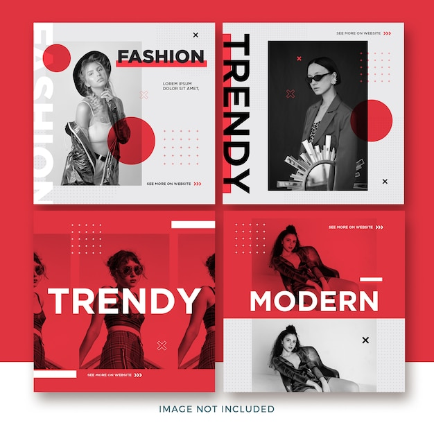 Fashion instagram post collection Premium Psd