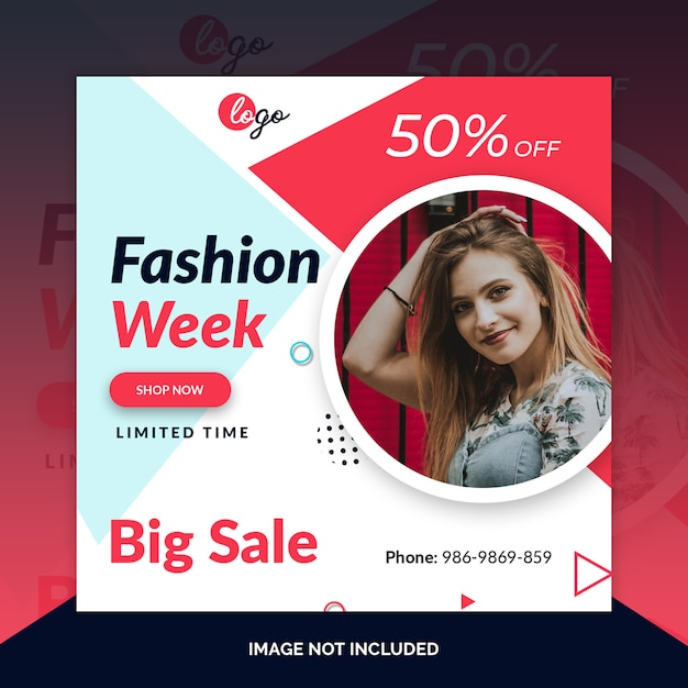 Fashion instagram post, square banner or flyer template Premium Psd