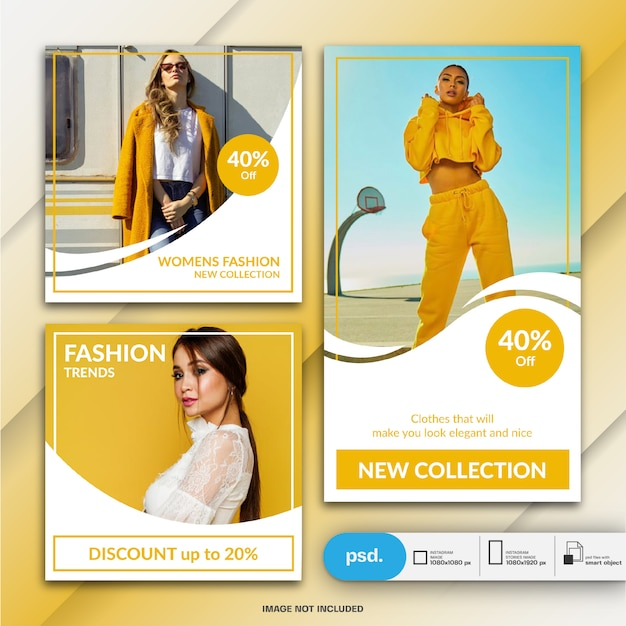 Fashion instagram post and story template or square banner Premium Psd
