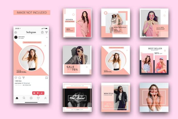 Fashion instagram post template set and screenshot mockup Premium Psd