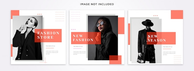 Fashion instagram post template set Premium Psd