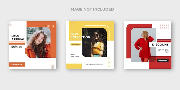 Fashion instagram post template set Free Psd