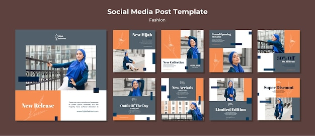 Fashion instagram posts template with photo Free Psd