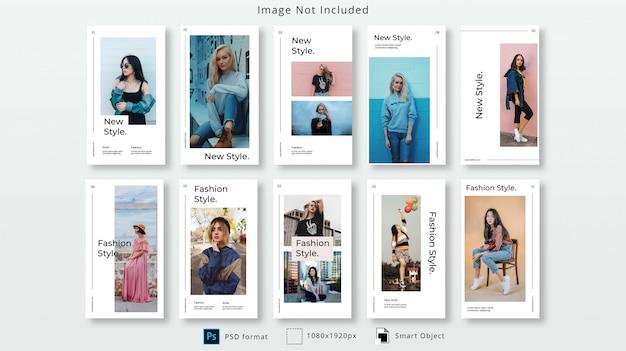 Fashion instagram stories psd template set Premium Psd
