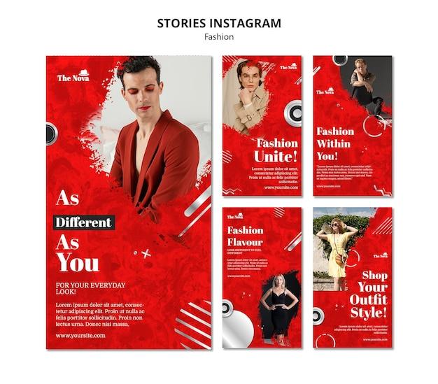 Fashion instagram stories set Premium Psd