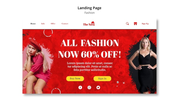 Fashion landing page template Premium Psd