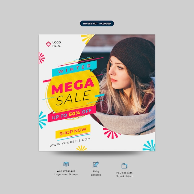 Fashion mega offer social media post template PSD file