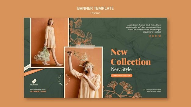 Шаблон баннера модели моды Бесплатные Psd