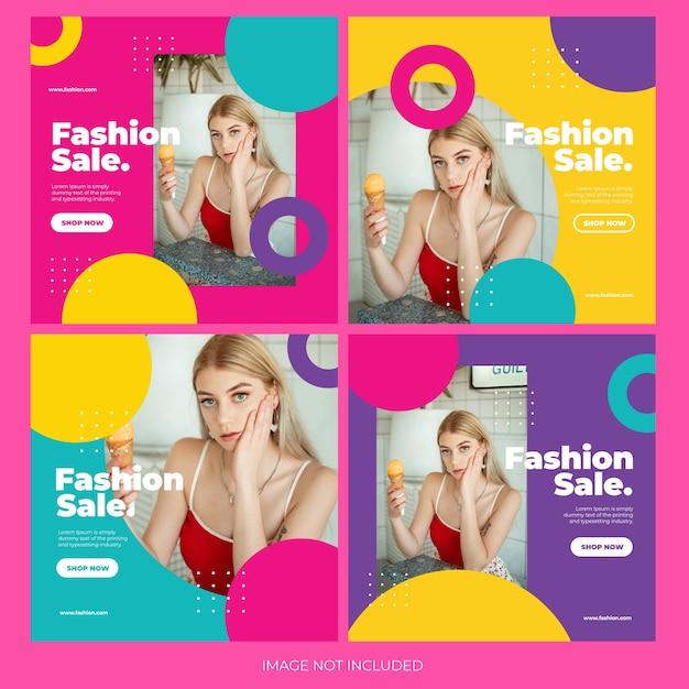 Fashion online shopping instagram post bundle template