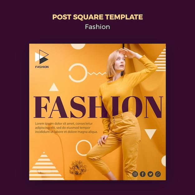 Модный пост квадратный шаблон Бесплатные Psd