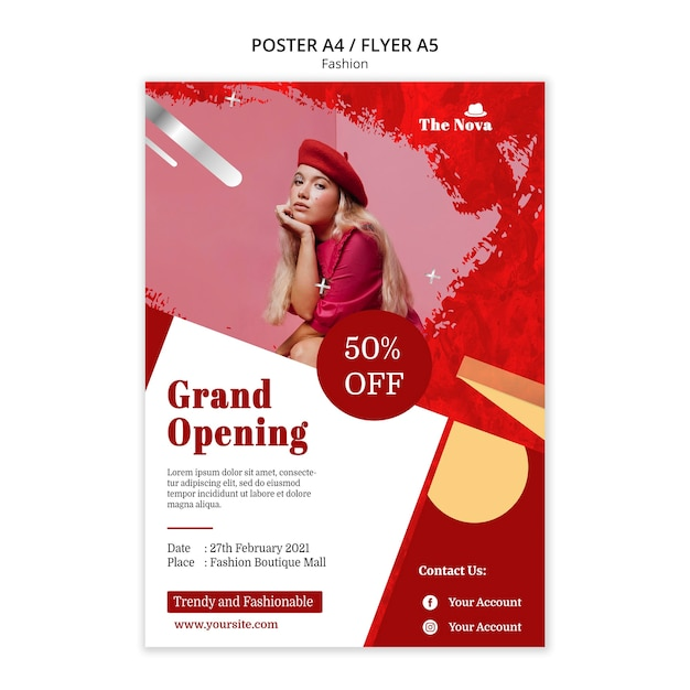 Fashion poster template with photo Free Psd