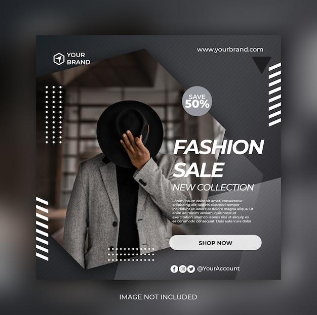 소셜 미디어 게시물 템플릿 패션 판매 배너 또는 사각형 전단지 프리미엄 PSD 파일