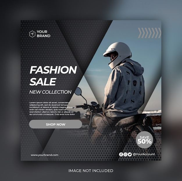 Fashion Retail Sale Flyer Free Psd Template: Fashion Sale Banner Or Square Flyer For Social Media Post