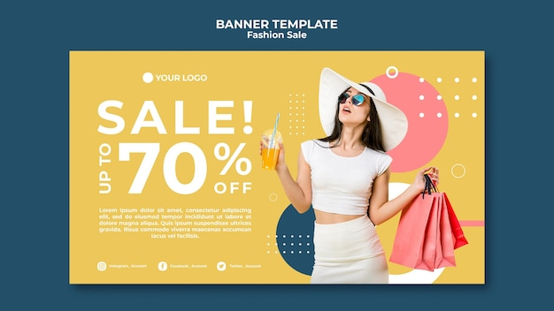 Fashion sale banner template theme Free Psd