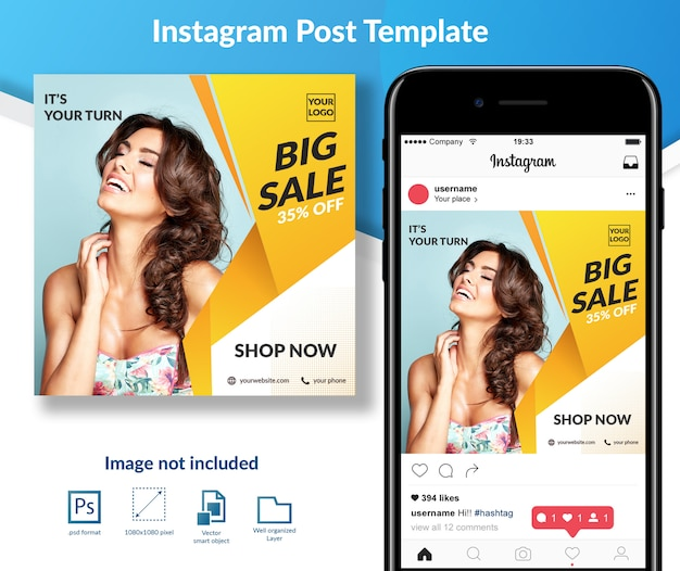 Fashion sale discount social media post template Premium Psd