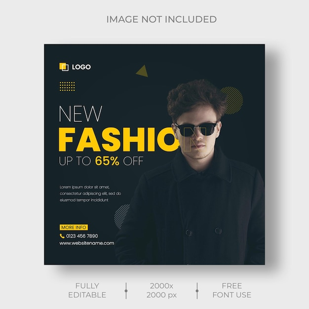 Fashion sale instagram post and social media banner template Free Psd
