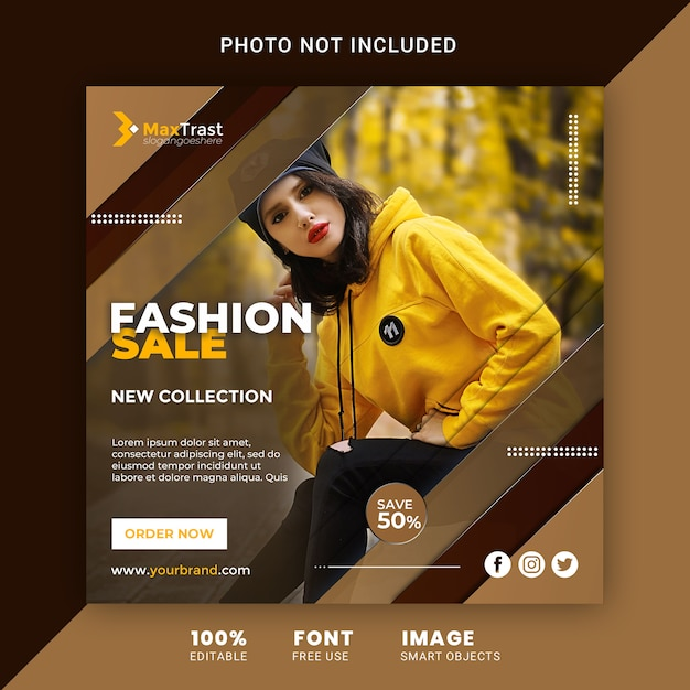 Fashion sale promotional instagram post square banner template Premium Psd